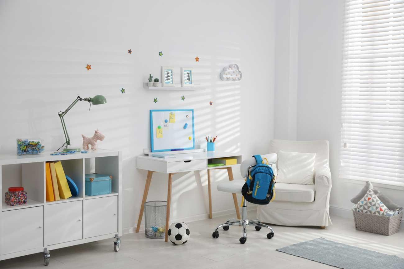 Modern child room interior with stylish classroom furniture