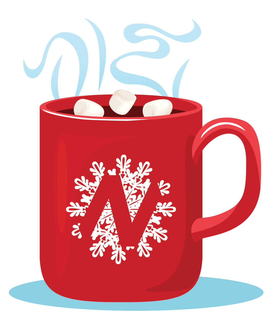 Cup of hot chocolate in a NET holiday logo mug.