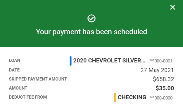 Skip A Pay payment scheduled